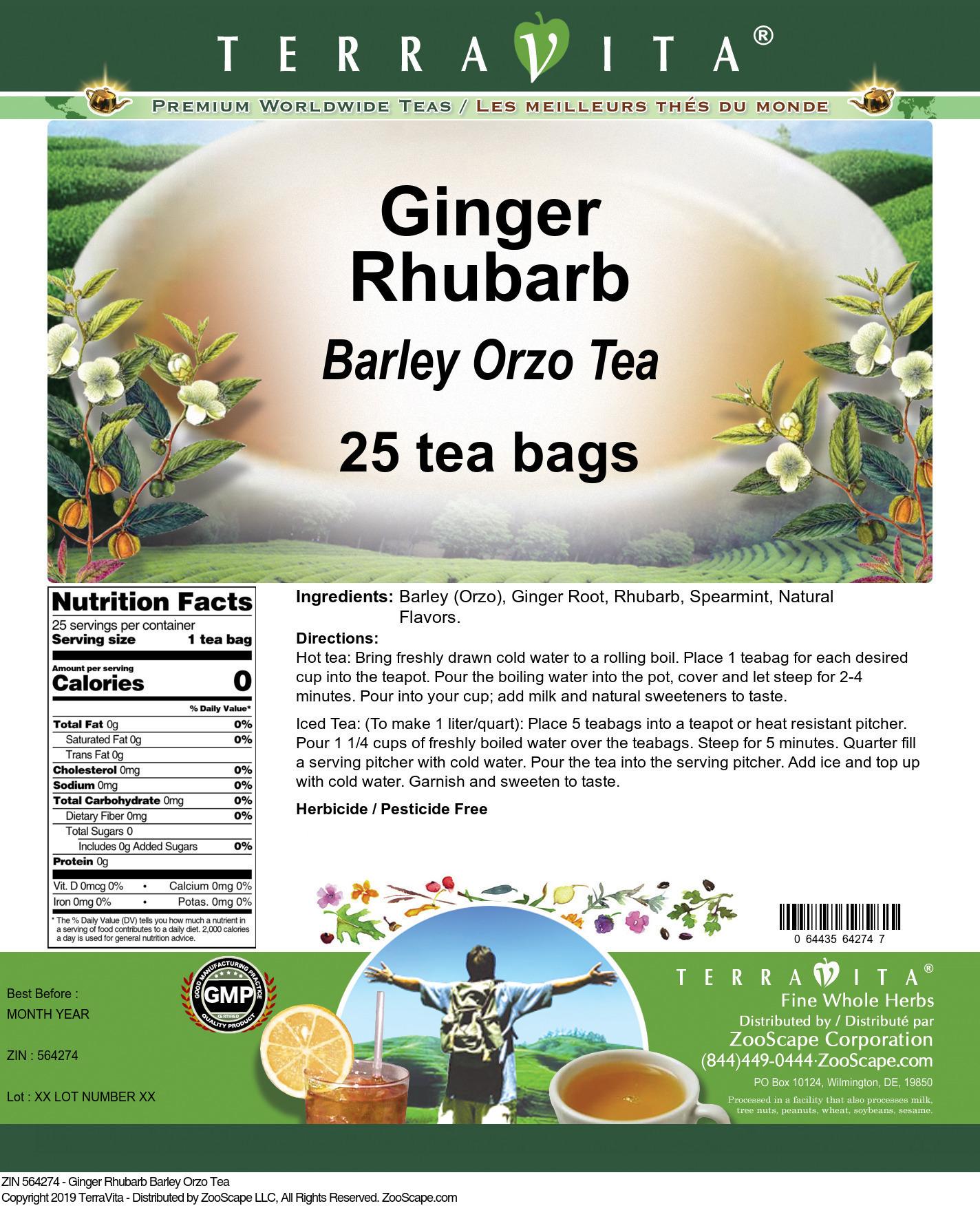 Ginger Rhubarb Barley Orzo Tea