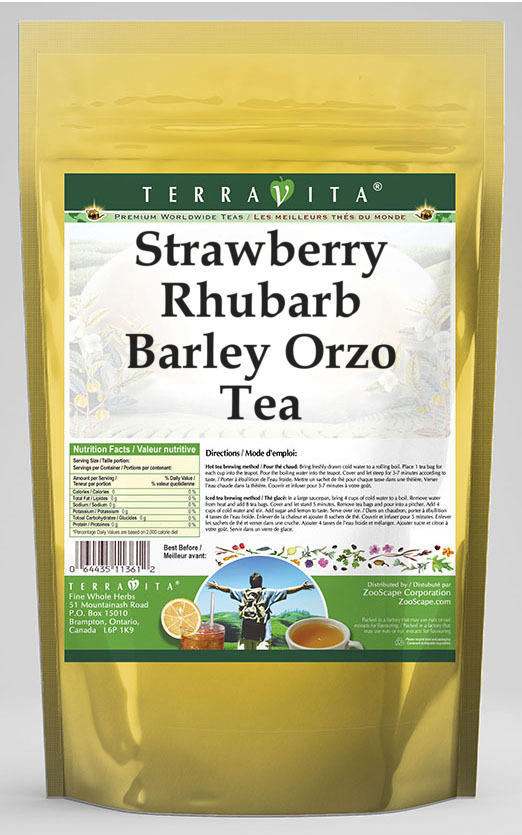 Strawberry Rhubarb Barley Orzo Tea
