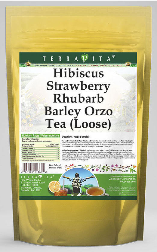 Hibiscus Strawberry Rhubarb Barley Orzo Tea (Loose)