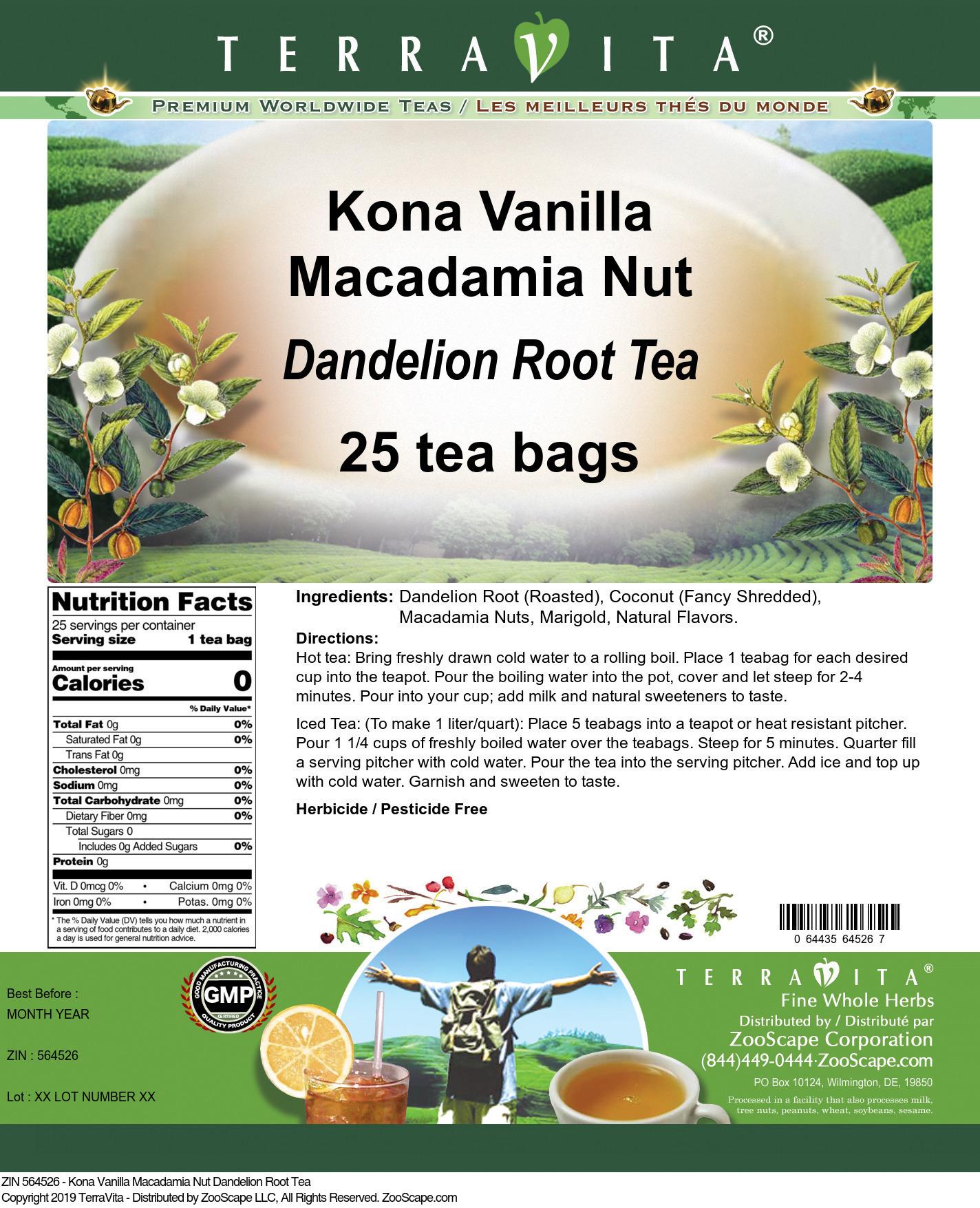 Kona Vanilla Macadamia Nut Dandelion Root Tea