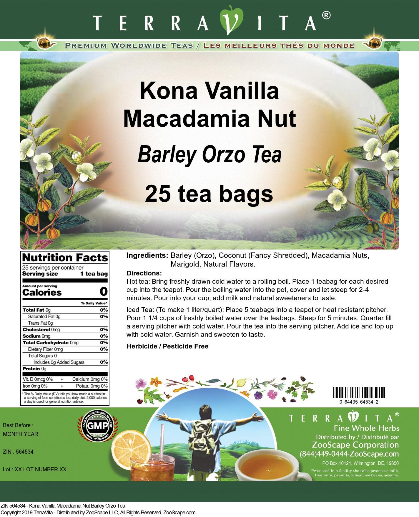 Kona Vanilla Macadamia Nut Barley Orzo Tea