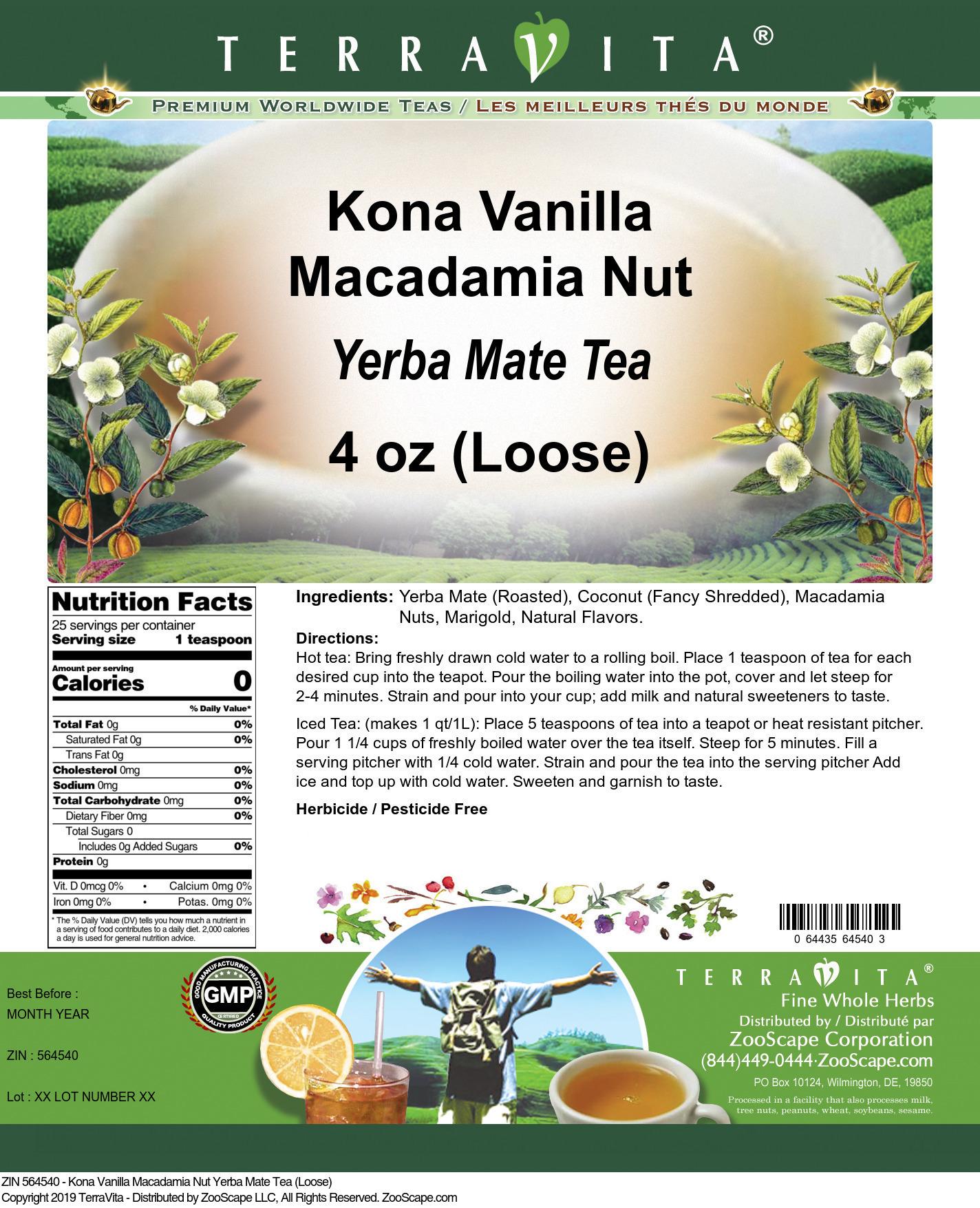 Kona Vanilla Macadamia Nut Yerba Mate Tea (Loose)
