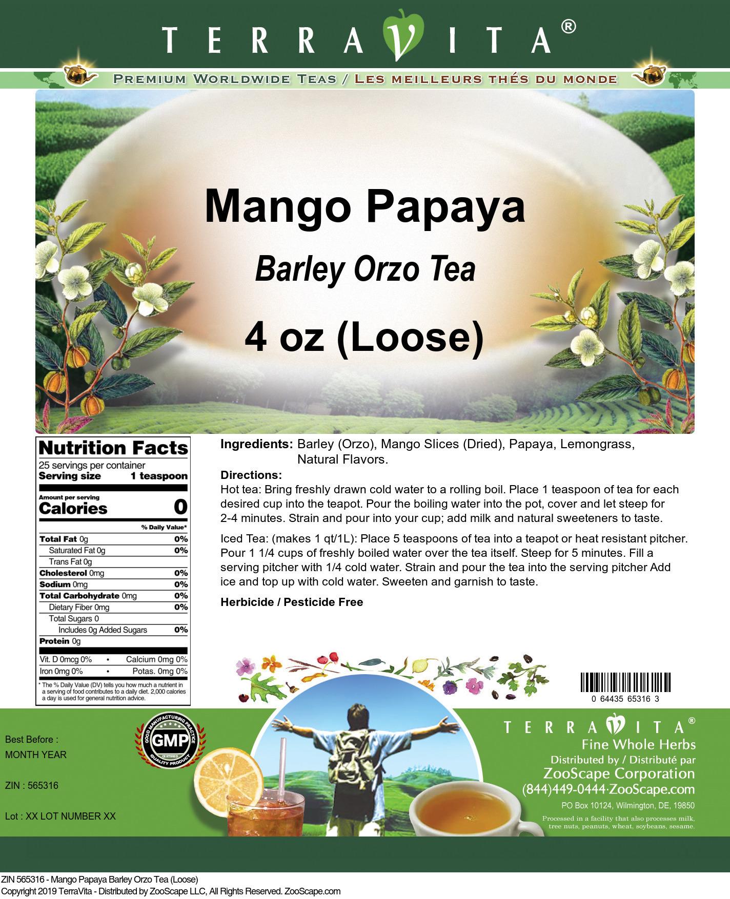 Mango Papaya Barley Orzo Tea (Loose)