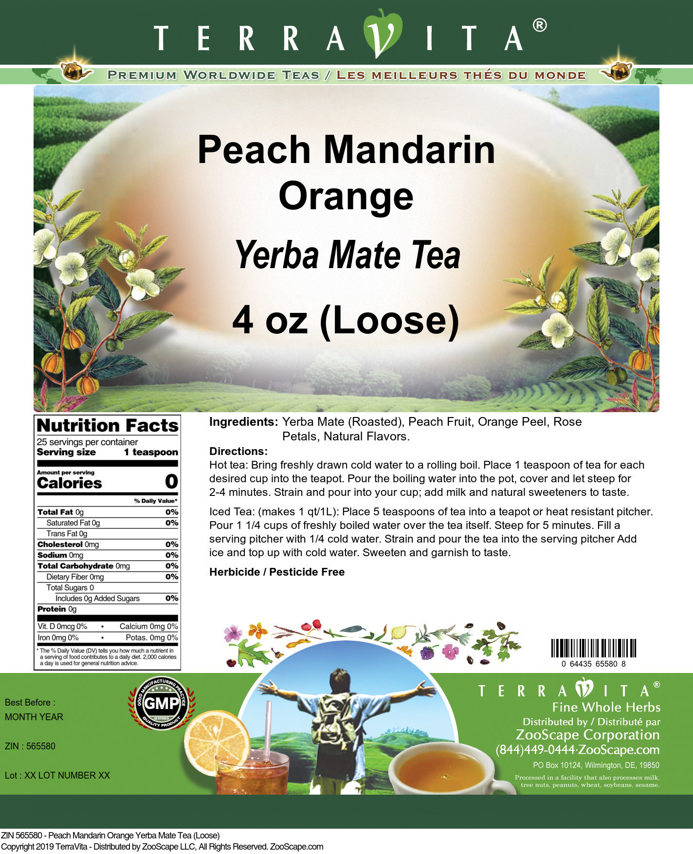 Peach Mandarin Orange Yerba Mate Tea (Loose)