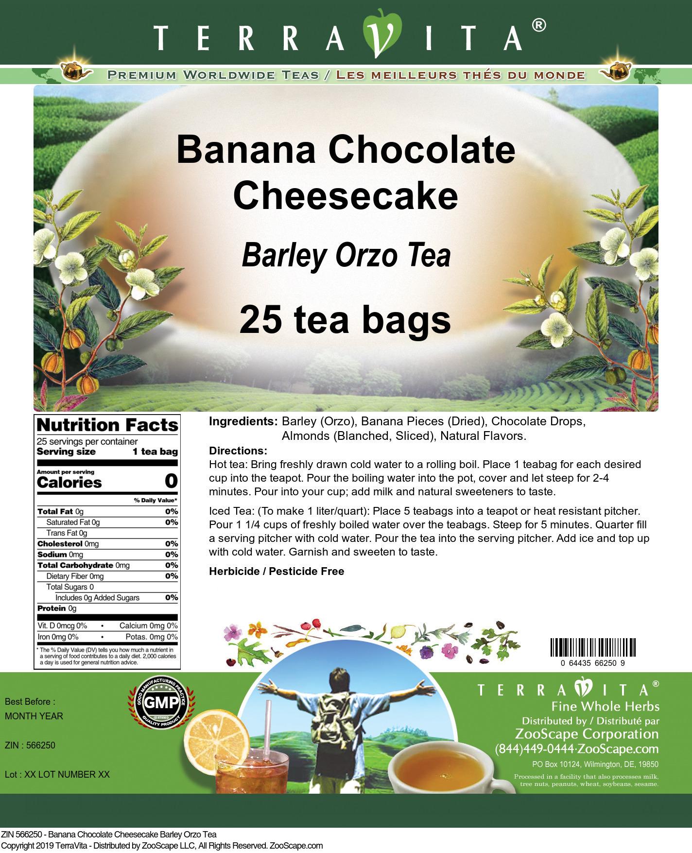 Banana Chocolate Cheesecake Barley Orzo