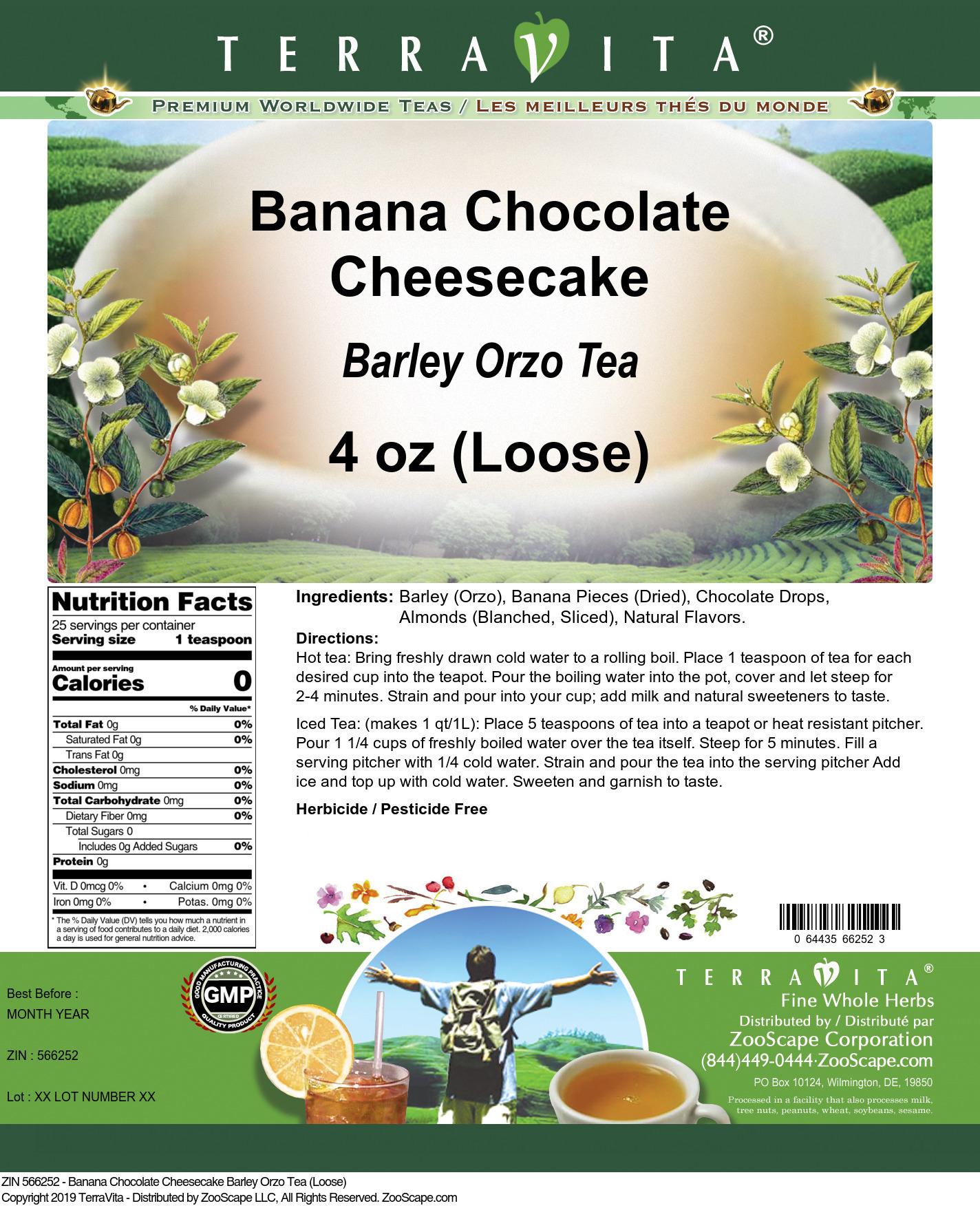 Banana Chocolate Cheesecake Barley Orzo Tea (Loose)