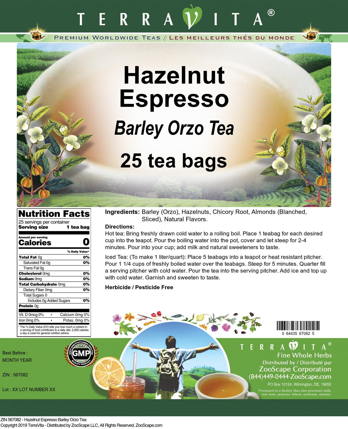 Hazelnut Espresso Barley Orzo Tea
