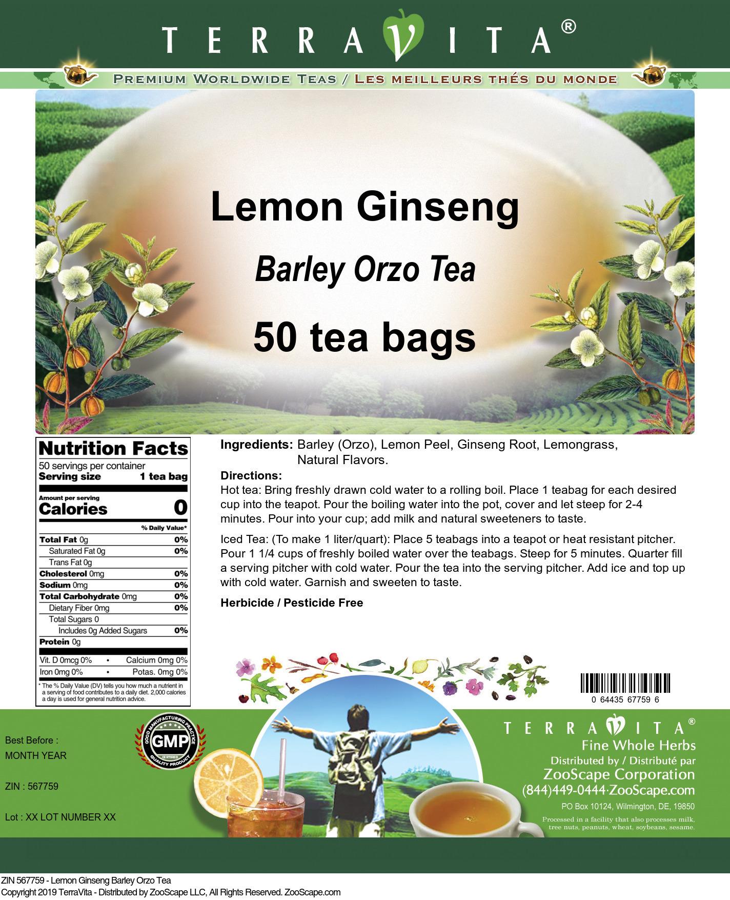 Lemon Ginseng Barley Orzo Tea