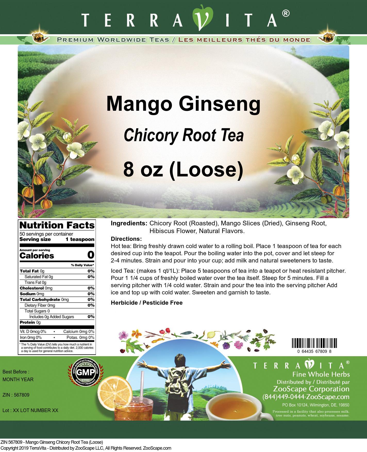 Mango Ginseng Chicory Root Tea (Loose)