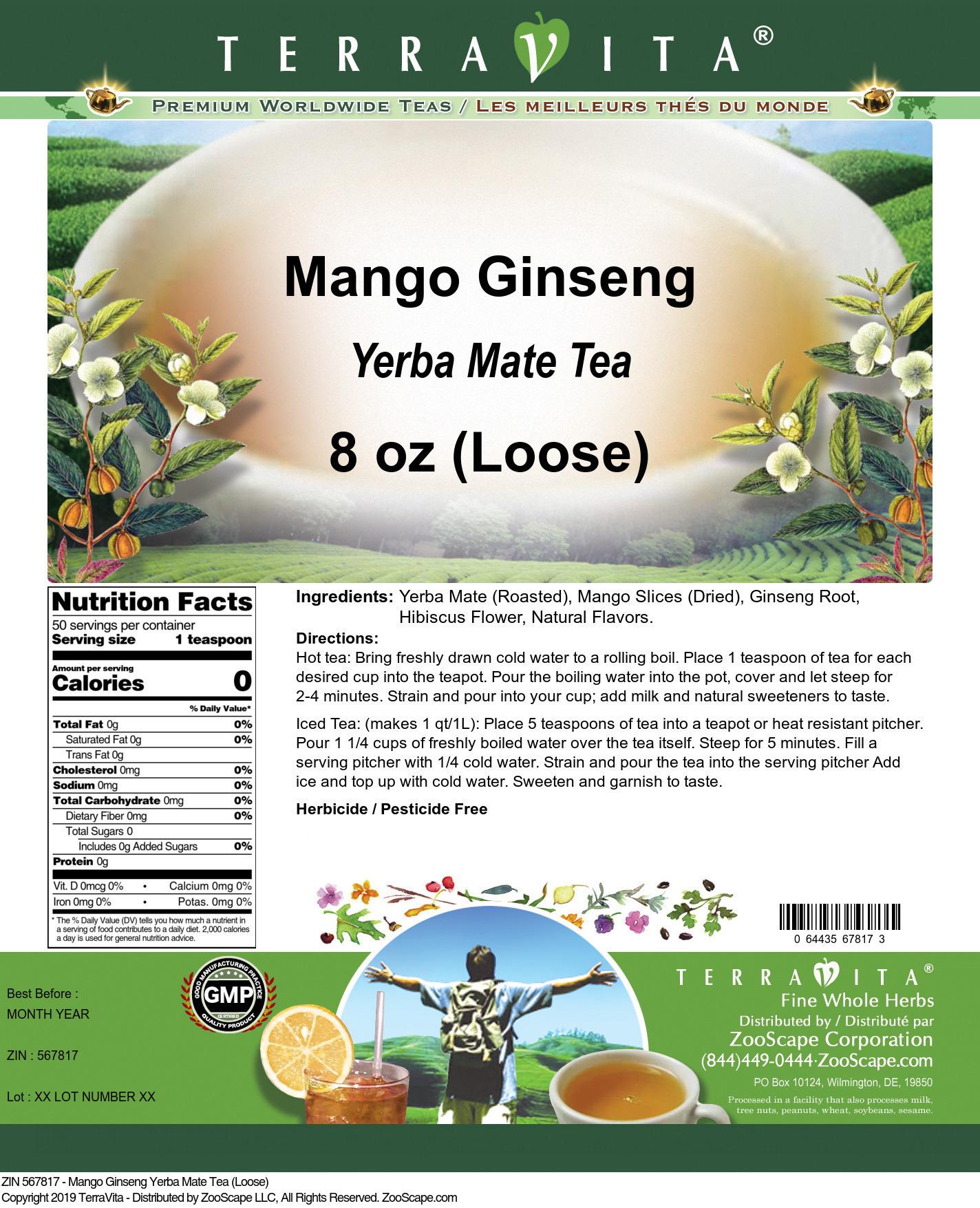 Mango Ginseng Yerba Mate Tea (Loose)