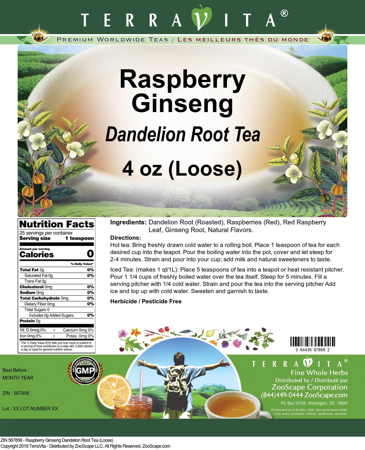 Raspberry Ginseng Dandelion Root Tea (Loose)