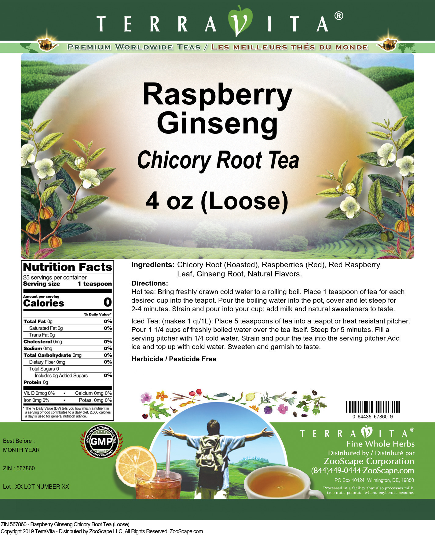 Raspberry Ginseng Chicory Root Tea (Loose)