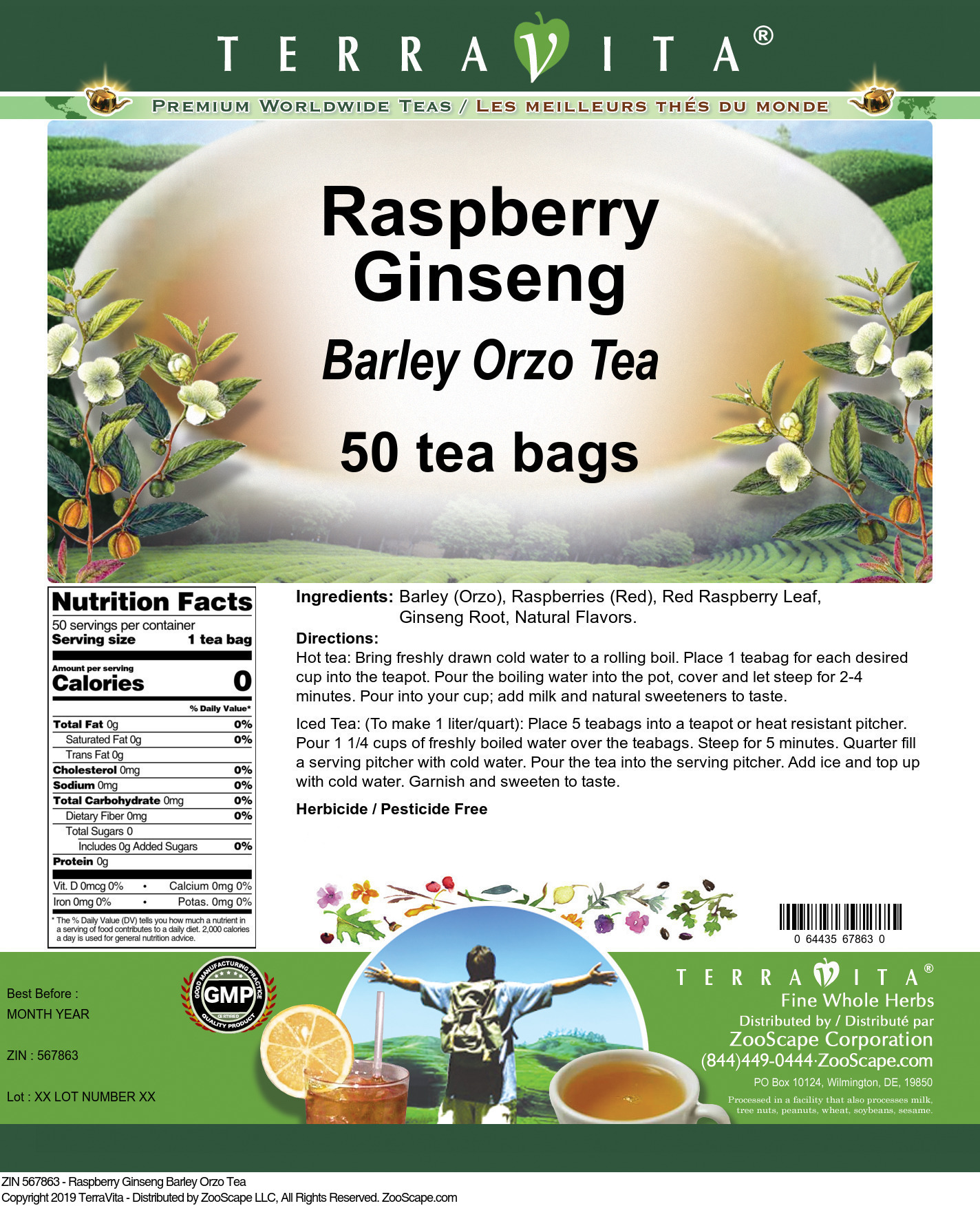 Raspberry Ginseng Barley Orzo Tea
