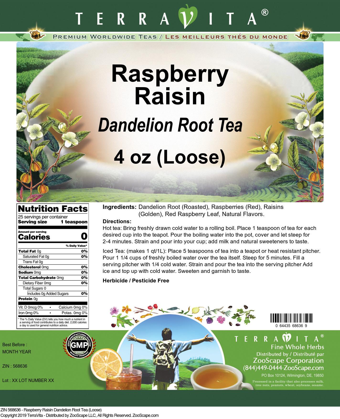 Raspberry Raisin Dandelion Root Tea (Loose)