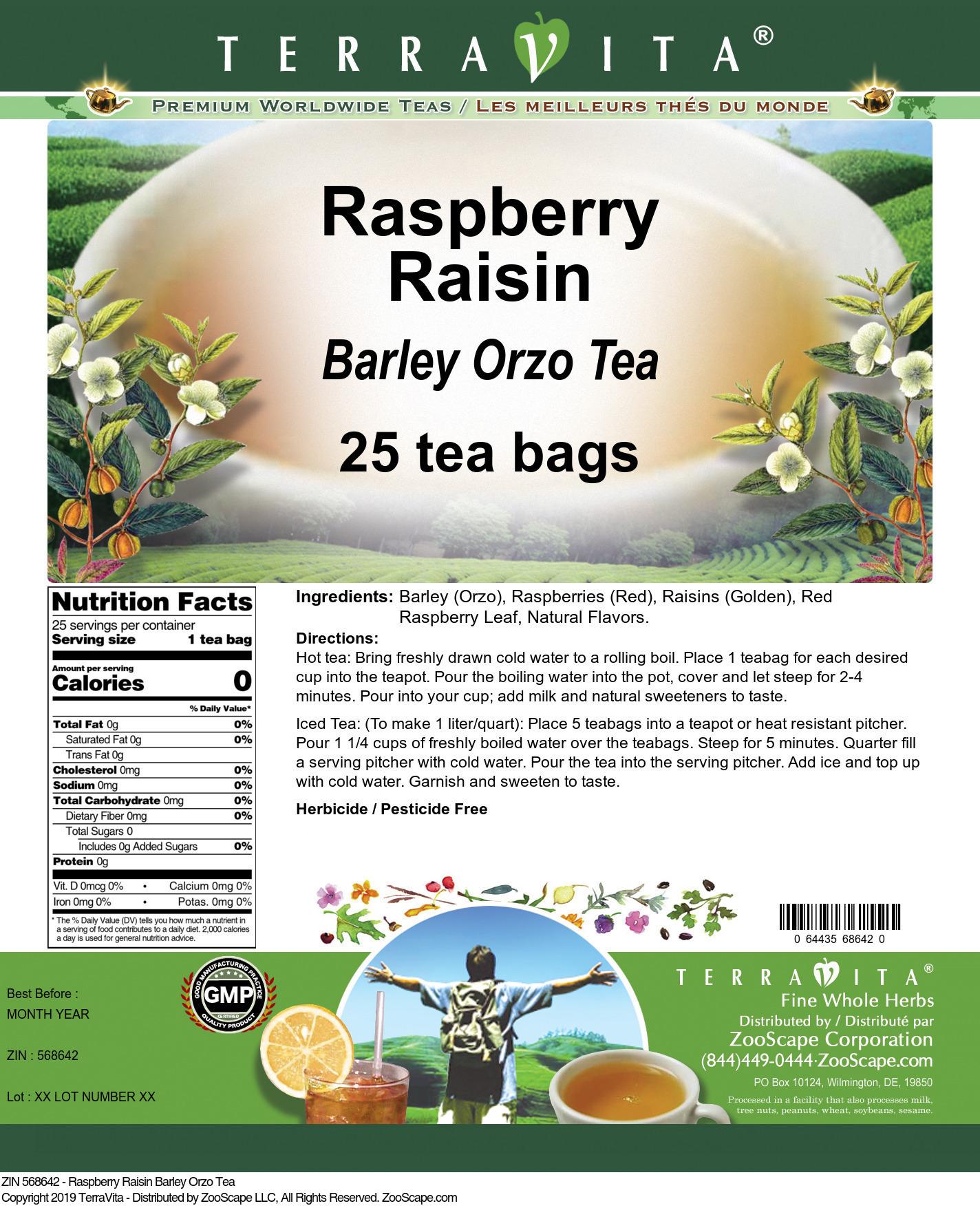 Raspberry Raisin Barley Orzo Tea