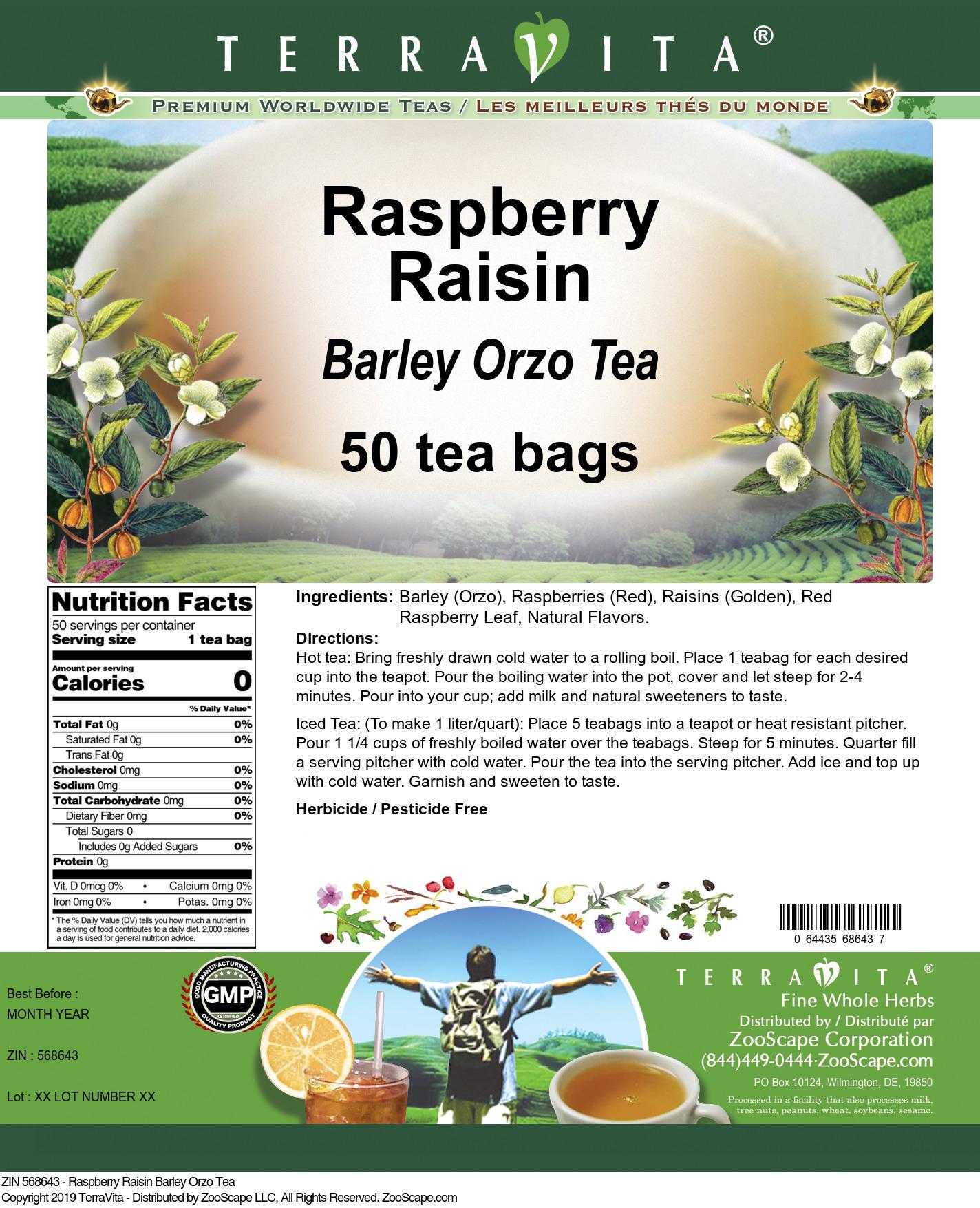 Raspberry Raisin Barley Orzo