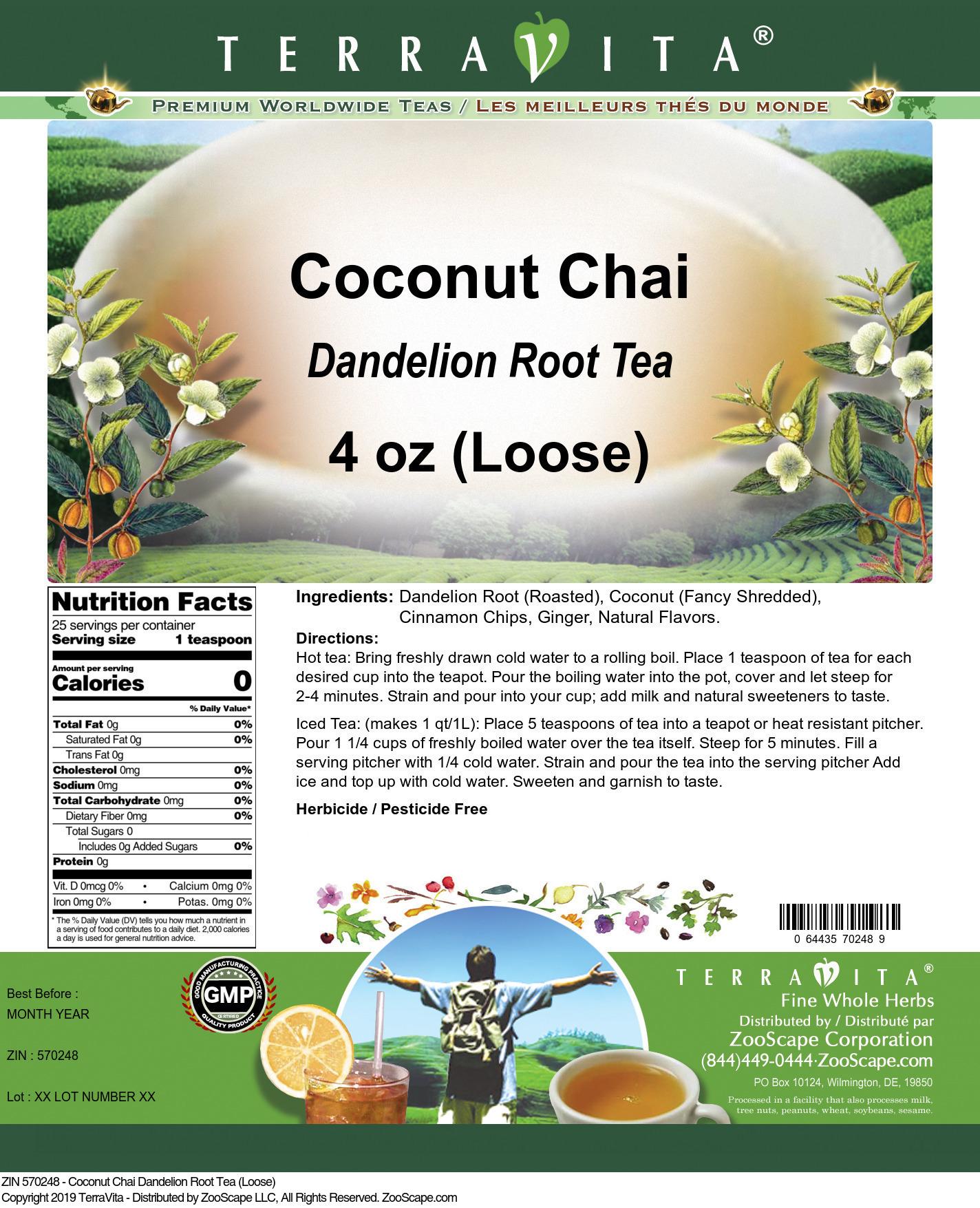 Coconut Chai Dandelion Root Tea (Loose)