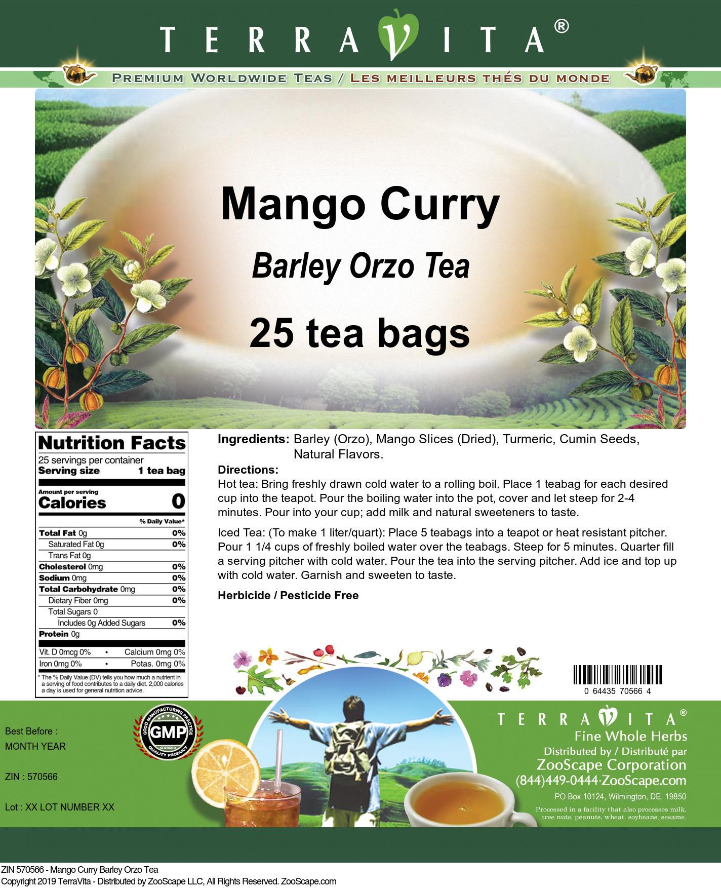 Mango Curry Barley Orzo Tea